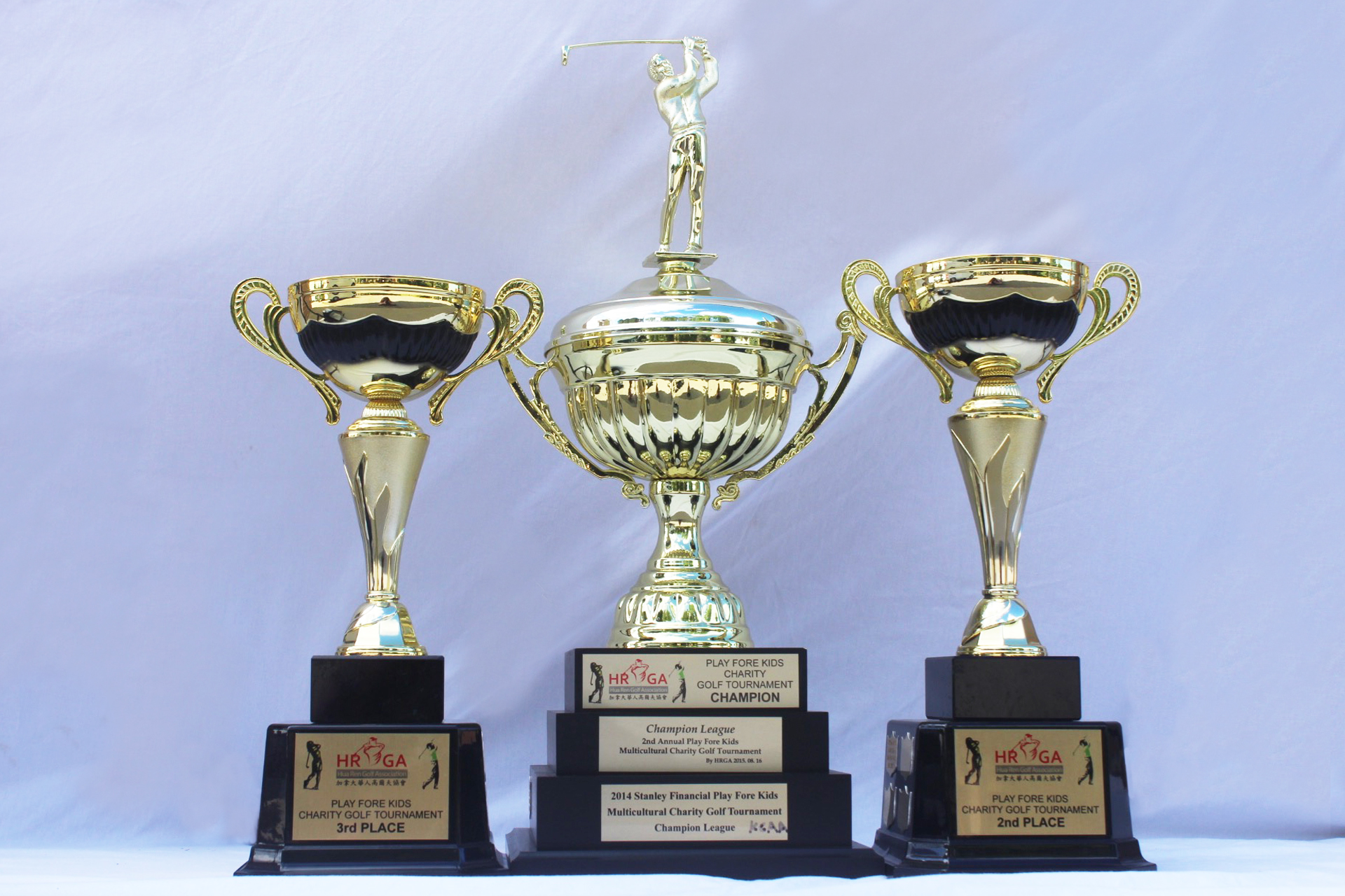 "The Third ""Play Fore Kids"" tournament trophies"